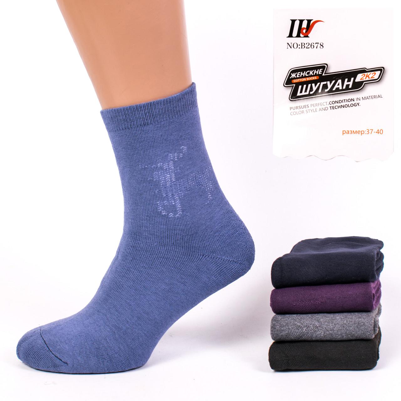 Женские махровые носки Шугуан В2678. В упаковке 12 пар
