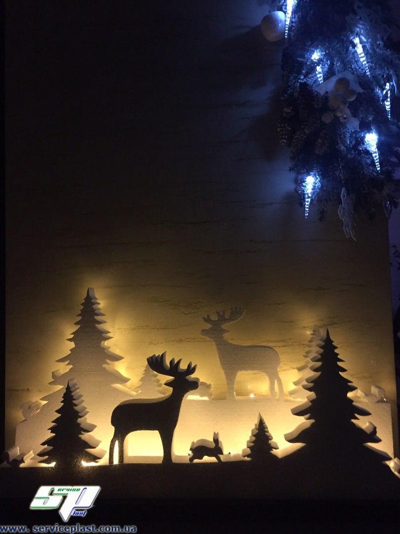 """Новогодний декор: снежинки, елки, звезды, ангелочки, надписи. Оформление витрин магазинов, кафе, баров, офисов - """"Дім Пласт """" Пенопласт, теплоизоляция труб, декор, реклама, дробленка, прайс-лист. в Киевской области"""