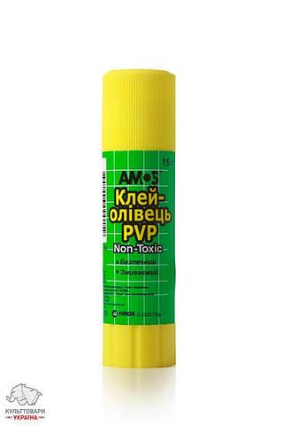 Клей-карандаш 15 г Amos основа PVP Арт. GSW15 260067