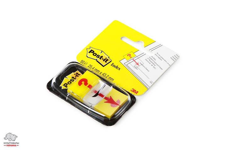 Закладки самоклеящиеся 3М Post-it Знак вопроса пластиковые 25,4х43,2 мм 50 шт желтые Арт. 680-32