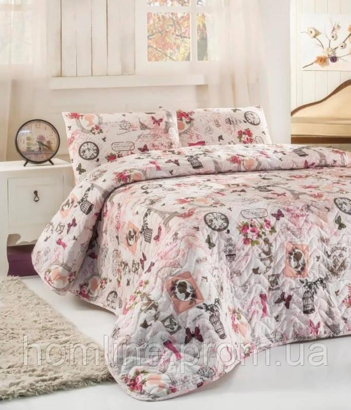 Покрывало стеганное с наволочками 200*220 Eponj Home Madame розовое