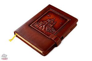 Ежедневник кожаный Privilege Андреевская церковь А5 с клапаном сменный блок золоченый срез страниц