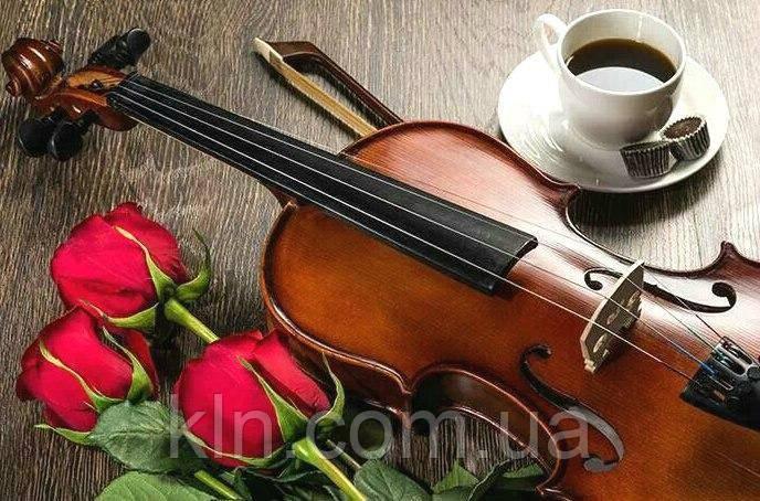 Алмазная вышивка на подрамнике Музыка, цветы и кофе для тебя 50 х 40 см (арт. TN653)