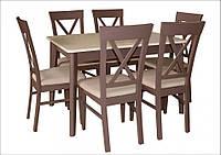 Стол обеденный ЛЕКС 120(+40) латтэ+шоколад