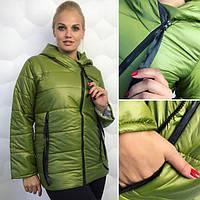 Женская зимняя куртка-косоворотка БАТАЛ