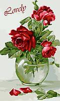 """Картина раскраска по номерам """"Чувственные розы"""" набор для рисования"""