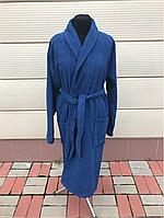 Махровый мужской халат синего цвета (XXXL)