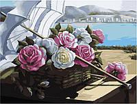 "Картина раскраска по номерам ""Зонтик и корзинка роз"" набор для рисования"