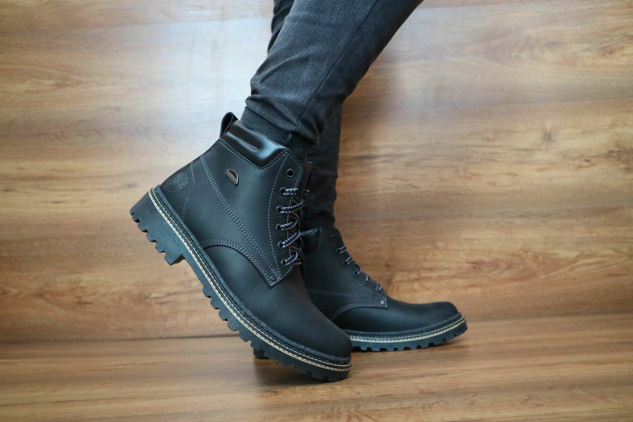 Кожаные мужские зимние ботинки Accord (черные), ТОП-реплика