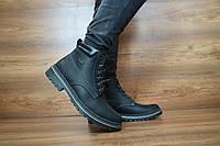 Кожаные мужские зимние ботинки Accord (черные), ТОП-реплика, фото 1