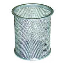Стакан для ручек Leader круглый металл. сетка серебристый Арт. PS-02 562020
