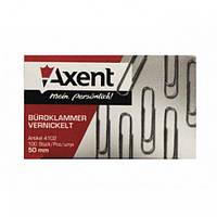 Скрепки канцелярские Аxent 50 мм 100 штук металлические рифленые Арт. 4102 07883