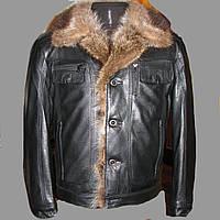 Кожаная куртка с мехом енота (дублёнка)