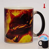 Чашка хамелеон Огонь и Вода: Волк и Волчица