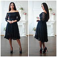 Гипюровое платье с открытыми плечами и клешеной юбкой 93328