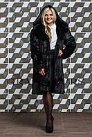 Шуба женская из эко меха до колен с капюшонном 120 черная, фото 1