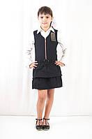 Школьная форма для девочек стильный недорогой сарафан на молнии с рюшами черный