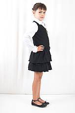 Школьная форма для девочек стильный недорогой сарафан на молнии с рюшами черный, фото 2