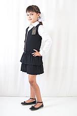 Школьная форма для девочек стильный недорогой сарафан на молнии с рюшами черный, фото 3