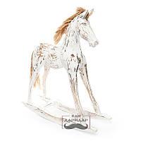 Статуэтка из дерева лошадь напольная - качалка белая Пегас