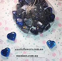 Декоративный стеклянный камень, Сердце синее, фото 1
