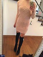 Теплое розовое вязанное платье с воротником.  Арт-12720