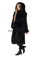 Шуба женская из эко меха ниже колен с капюшонном 044 черная