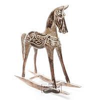 Статуэтка из дерева лошадь напольная качалка коричневая Мустанг