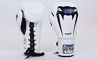 Перчатки боксерские кожаные на шнуровке VENUM GIANT VL-5786-W