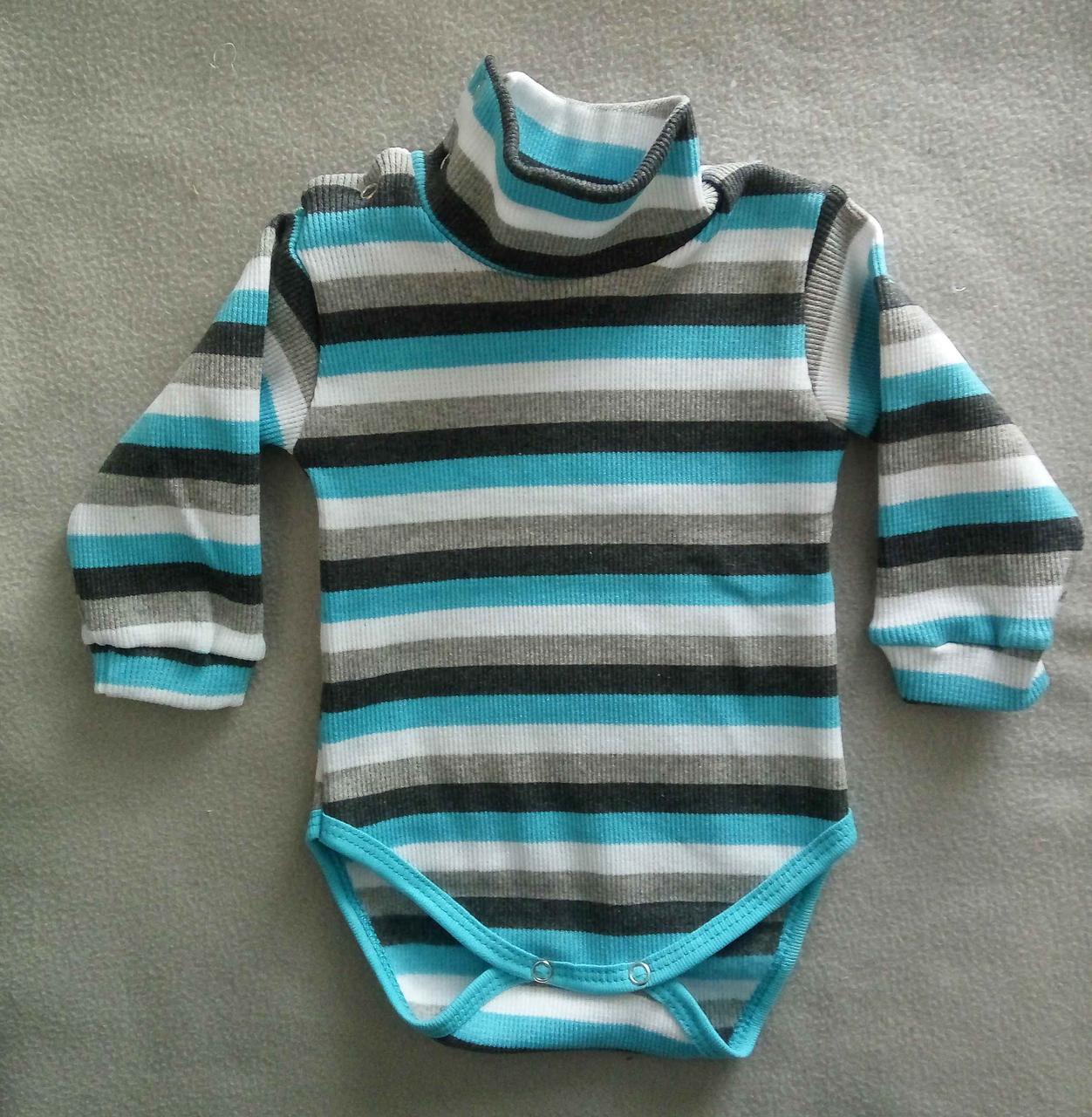 666ff971a772 Боди гольф детский с начесом, для новорожденных 3-24 мес, рубчик, на  кнопках, Украина, оптом