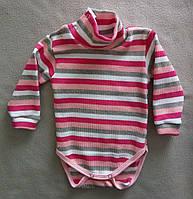 Боди гольф детский с начесом, для новорожденных 3-24 мес, рубчик, на кнопках, Украина, оптом