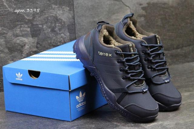 Чоловічі зимові кросівки Adidas Terrex (3295) темно сині  e45cde93c79f5