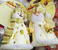 Новогодняя Мягкая Игрушка на Елку Снеговик Дед Мороз 12 см