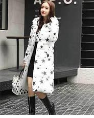 Зимняя куртка с капюшоном. Белая.Звезды. 208-062, фото 2