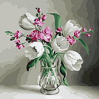 """Картина раскраска по номерам """"Медуница и пионы"""" набор для рисования"""