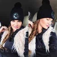 Женская зимняя шапка с бубоном из натурального меха кролика b2eee011d4575