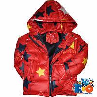 Детская куртка зима, болоньевая на синтепоне, c внутр стороны плюш, для девочек ростом 92-116 см (5 ед в уп)