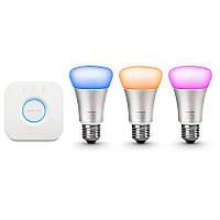 Светодиодная лампа (энергосберегающая) Philips Комплект умные лампы Hue LED Lampe 10 W A60 E27 Starter Set Bridge 2.0. 3 set (8718696461693)