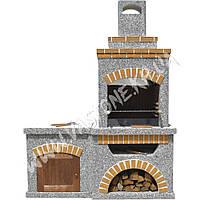 Камин, печь барбекю «Манчестер» со столом и дверцей