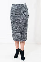 Женская прямая теплая юбка цвета меланж