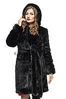 Шуба женская из эко меха до середины бедер с капюшонном 081 черная, фото 1