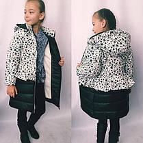 Пальто зимнее интересного кроя с разными принтами, фото 2