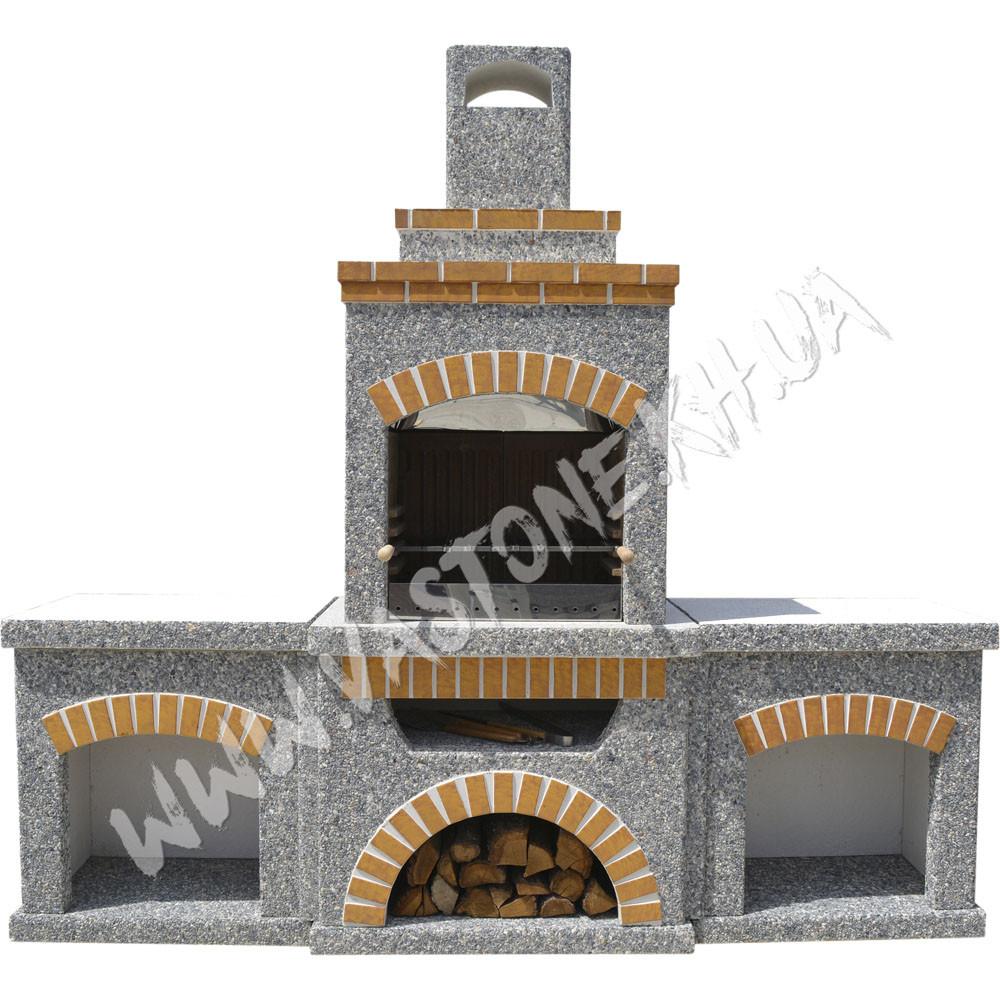 Камин, печь барбекю «Манчестер» с двумя столами