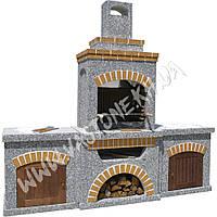 Камин, печь барбекю «Манчестер» с двумя столами и дверцами