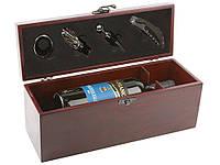 Набор для вина штопор, кольцо, пробка, пробка для шампанского в деревянном футляре Арт. 221-004