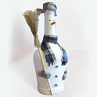 """Новогодняя бутылка """"Снеговик"""" для сервировки детского новогоднего стола"""
