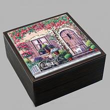 Шкатулка Прованс Розы 10х10х5,5 см дерево+керамика Арт. 262-2112В
