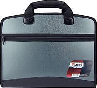 Портфель пластиковый Axent А4 на молнии 4 отделения серый металлик Арт. 1621-11-A