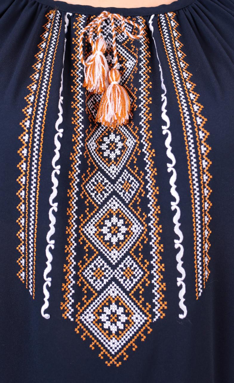 0ec19fb61ed ... Жіноча шифонова блузка синього кольору з етнічним орнаментом