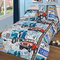 Подростковое полуторное постельное белье с простыню на резинке 90*200*25 Автобан, бязь ГОСТ